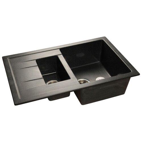Врезная кухонная мойка 77.1 см GranFest Quadro GF-Q775KL черный кухонная мойка черный granfest quadro gf q780l
