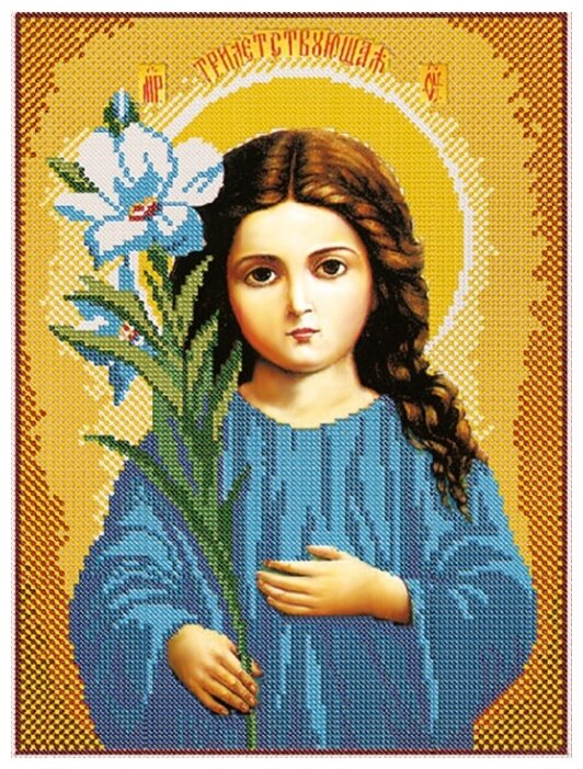 Канва для вышивания с рисунком NOVA SLOBODA Богородица Трилетствующая БИС-1215 30 х 42 см