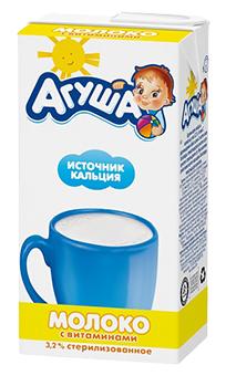 Молоко Агуша детское источник кальция обогащенное витаминами (с 3-х лет) 3.2%, 0.5 л