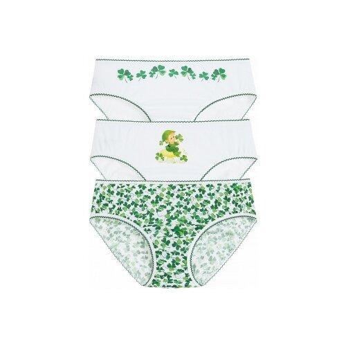 Купить Трусики Lowry 3 шт., размер 2XL, белый/зеленый, Белье и купальники