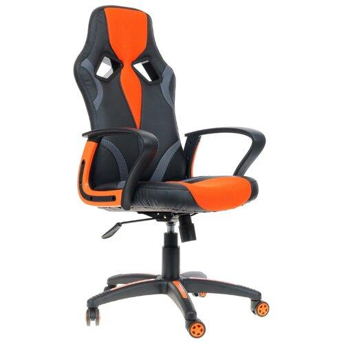 Компьютерное кресло TetChair Runner игровое, обивка: текстиль/искусственная кожа, цвет: черный/оранжевый компьютерное кресло tetchair барон обивка искусственная кожа цвет бежевый