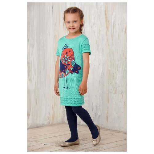 Платье Веснушки размер 92, зеленый/синий/коралл