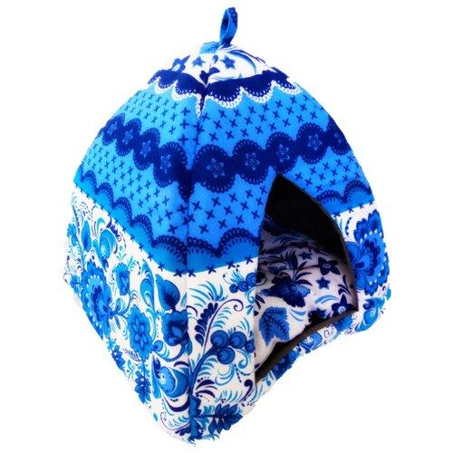 Домик для собак и кошек LOORI Гжель 35х35х37 см голубой