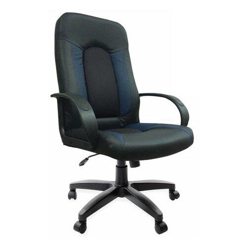 Компьютерное кресло Brabix Strike EX-525 для руководителя, обивка: текстиль/искусственная кожа, цвет: черный/синий brabix strike ex 525 серый черно синий