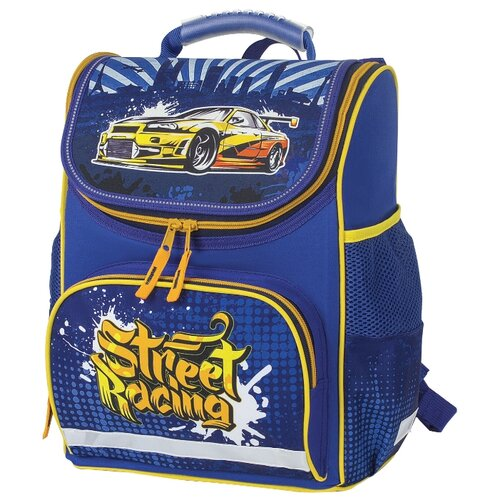 Пифагор ранец Basic Street Racing (228808), желтый/синий недорого