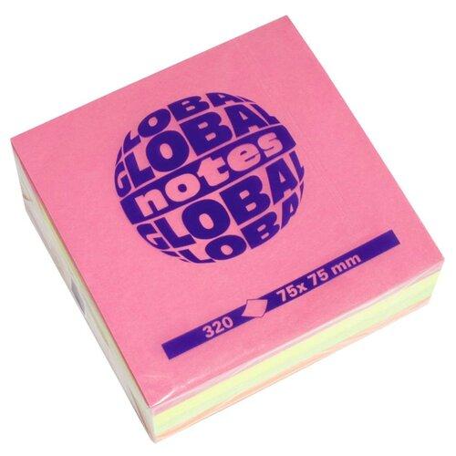 Global Notes блок-кубик с липким слоем 4 цвета 75х75 мм, 320 листов (365439) розовый/желтый/зеленый/оранжевый