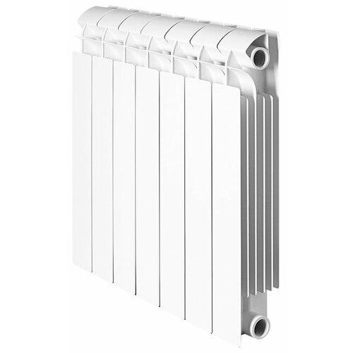 Радиатор секционный биметаллический Global STYLE PLUS 500 x8 теплоотдача 912 Вт, подключение универсальное боковое RAL 9010 биметаллический радиатор rifar рифар b 500 нп 10 сек лев кол во секций 10 мощность вт 2040 подключение левое