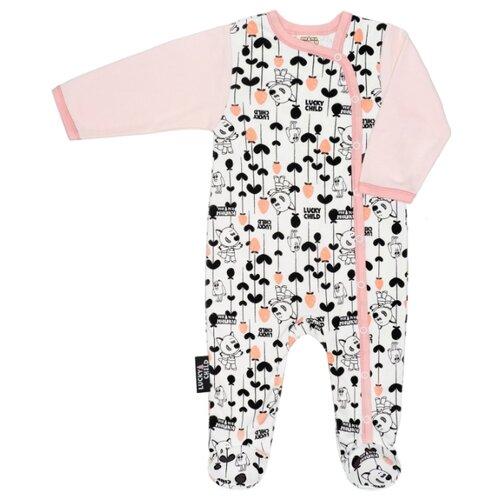 Купить Комбинезон lucky child размер 18 (56-62), белый/розовый, Комбинезоны