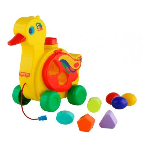 Каталка-игрушка Полесье Уточка-несушка (6042) желтый каталка игрушка полесье биосфера котёнок 54456