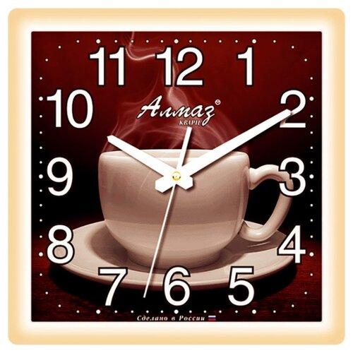 Часы настенные кварцевые Алмаз K13 бежевый/темно-коричневый