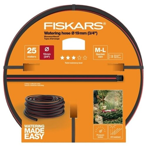 """Шланг FISKARS Q3 3/4"""" 25 метров черный/красный/оранжевый"""