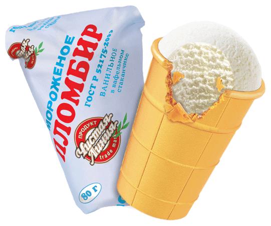 Мороженое Чистая Линия пломбир ваниль 80г