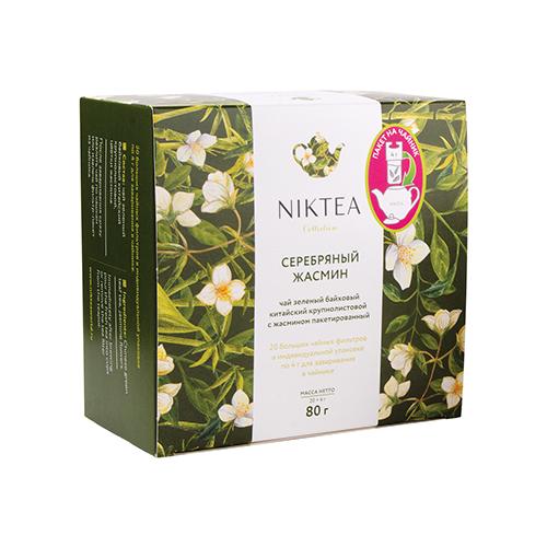 Фото - Чай зеленый Niktea Серебряный Жасмин в пакетиках для чайника, 80 г 20 шт. чай в пакетиках фиточаи байкальские женский лечебный с боровой маткой 20 шт по 1 5 г