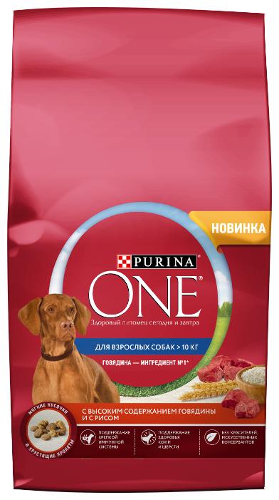 Корм для собак Purina ONE для взрослых собак средних и крупных пород, с высоким содержанием говядины и с рисом
