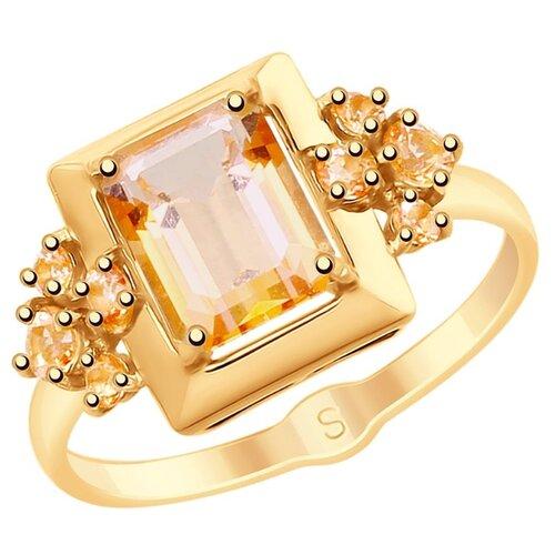 SOKOLOV Кольцо из золота с топазами Swarovski 715353, размер 17.5 кольца sokolov 715353 s