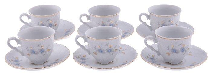 Кофейный сервиз Cmielow Rococo (Голубой цветок) 6 предметов