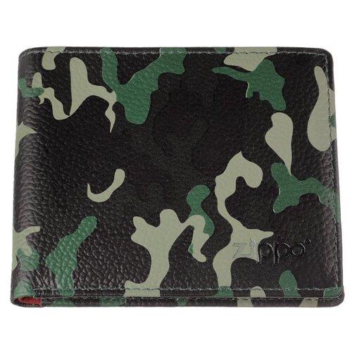 Фото - Портмоне Zippo, зелёно-чёрный камуфляж, натуральная кожа, 10,8x1,8x8,6 см портмоне zippo серо чёрный камуфляж натуральная кожа 11 2x2x8 2 см