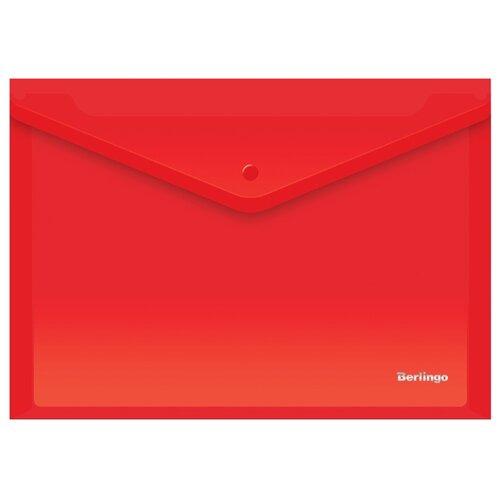 Купить Berlingo Папка-конверт на кнопке A4, пластик 180 мкм, 10 штук красный, Файлы и папки