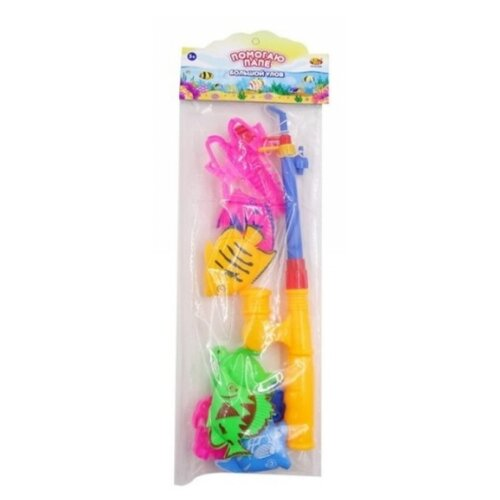 Рыбалка Junfa toys Помогаю папе - Большой улов PT-01256 зеленый/желтый/голубой/розовый, Развитие мелкой моторики  - купить со скидкой