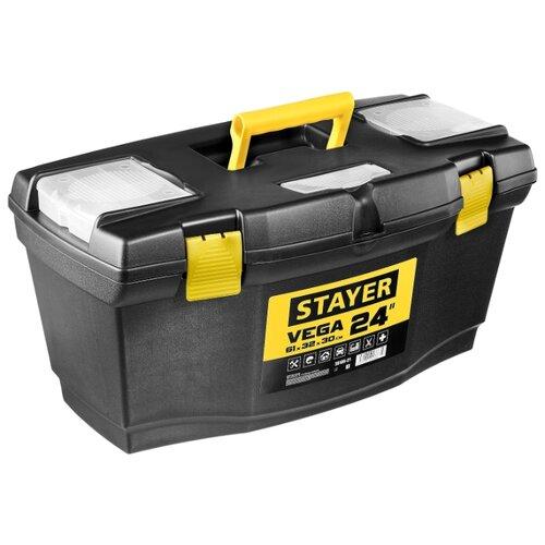 Ящик с органайзером STAYER Vega 38105-21_z03 61x32x30 см 24'' черный ящик stanley 1 97 514 со съемным органайзером 24 67x32 3x25 1см