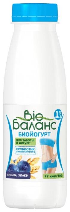 Питьевой йогурт Био Баланс с бифидобактериями Черника-злаки 1.5%, 330 г