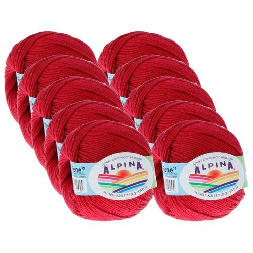 Купить Пряжа Alpina Rene, 100 % хлопок, 50 г, 105 м, 10 шт., №020 бордовый