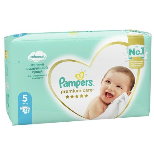 Купить Pampers подгузники Premium Care 5 (11+ кг) 42 шт., Подгузники