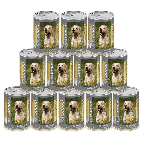 Влажный корм для собак Dog Lunch Говядина с рубцом и печенью в желе для собак, 12 шт. в уп. х 410 г 12шт. х 410г