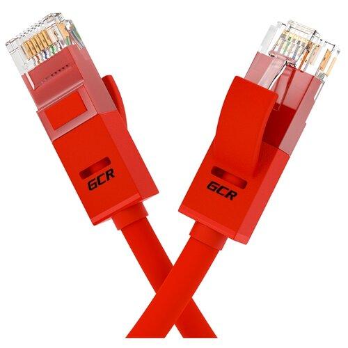 Кабель LAN для подключения интернета GCR cat5e RJ45 UTP 0.2м патч-корд patch cord шнур провод для роутер smart TV ПК красный литой