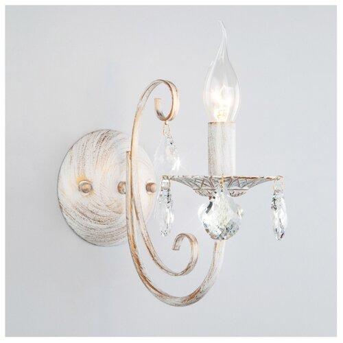 Настенный светильник Eurosvet Alda 3305/1 белый с золотом/прозрачный хрусталь Strotskis, 60 Вт светильник настенный eurosvet screw 40136 1 6w белый