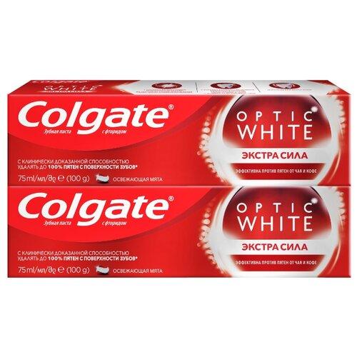 Зубная паста Colgate Optic White Экстра сила отбеливающая, 75 мл, 2 шт. фото