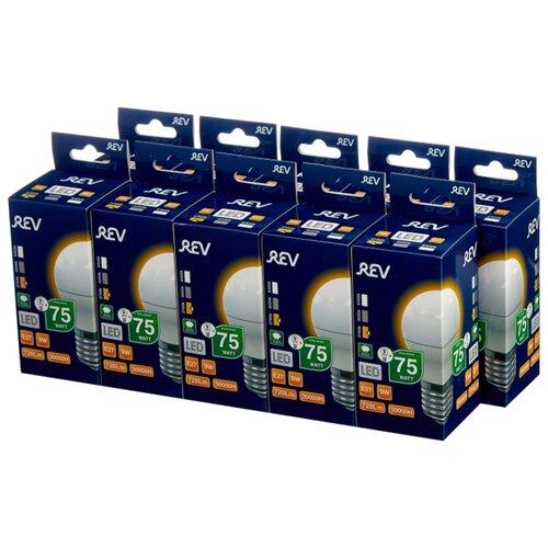 Упаковка светодиодных ламп 10 шт REV 32408 9, E27, G45, 9Вт