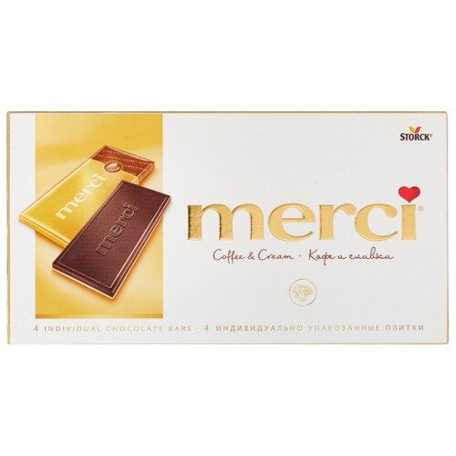 шоколад klaus молочный с кардамоном и кофе 100 г Шоколад Merci молочный и белый порционный кофе и сливки, 100 г