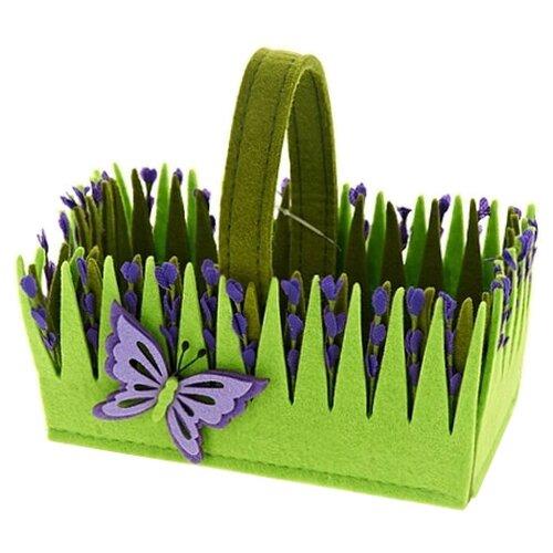ENS Корзина декоративная Лаванда 18х10х16 см зеленый