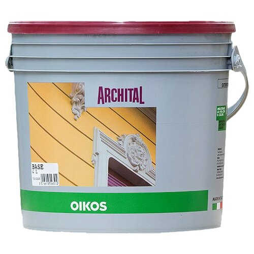 Краска акриловая Oikos Archital влагостойкая моющаяся матовая бесцветный 4 л краска акриловая oikos multidecor перламутровая моющаяся es710 1 л