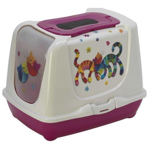 цена на Туалет-домик для кошек Moderna Trendy Cat Friends Forever 50х39.5х37.5 см ярко-розовый