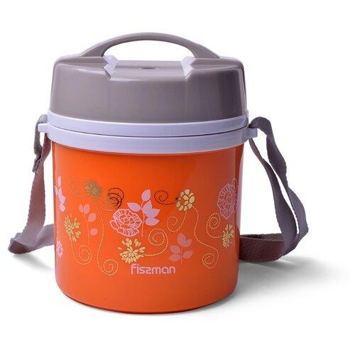 Термос Fissman для пищи с широким горлом 1400 мл ОРАНЖЕВЫЙ с двумя контейнерами и ложкой (пластиковый корпус со стальной колбой) (7940)