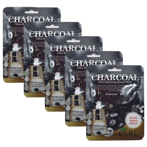 Фото - Ekel Маска тканевая с экстрактом древесного угля Charcoal Ultra Hydrating Essence Pack, 25 мл, 5 шт. acaci тканевая маска для лица с экстрактом древесного угля для очищения пор 23 мл