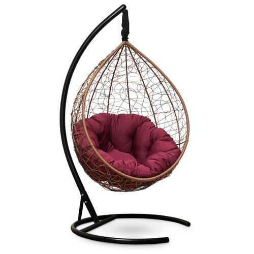 Подвесное кресло-кокон Laura Outdoor Sevilla Verde, горячий шоколад/бордовый