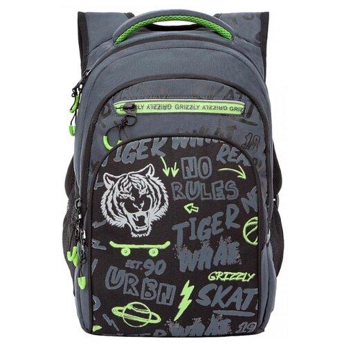 Купить Grizzly Рюкзак школьный, черный -салатовый, RB-150-3/2, Рюкзаки, ранцы