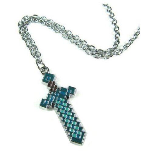 Брелок металлический Minecraft Меч Голубой-Серебряный