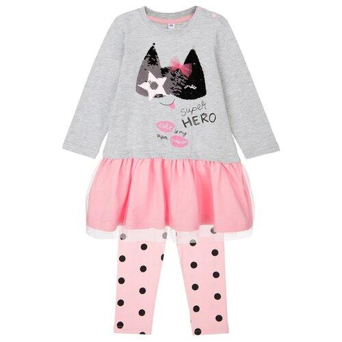 Купить Комплект одежды playToday размер 74, розовый/серый, Комплекты