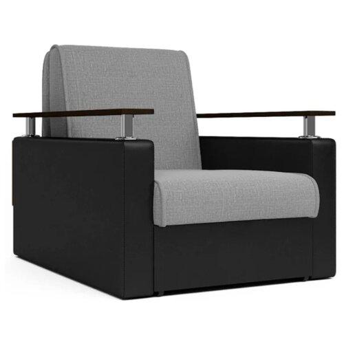 Кресло-кровать Шарм-Дизайн Шарм размер: 80х101 см, , размер спального места: 194х60 см, обивка: комбинированная, цвет: черный/серый