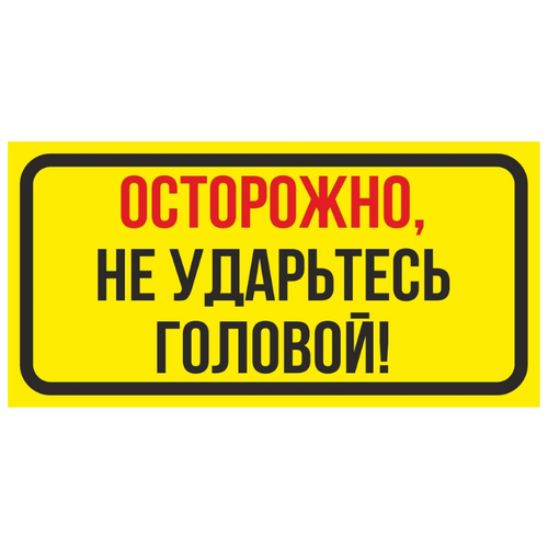 """Информационная табличка """"Осторожно не ударьтесь головой"""" 200х100 мм из пластика 3 мм"""