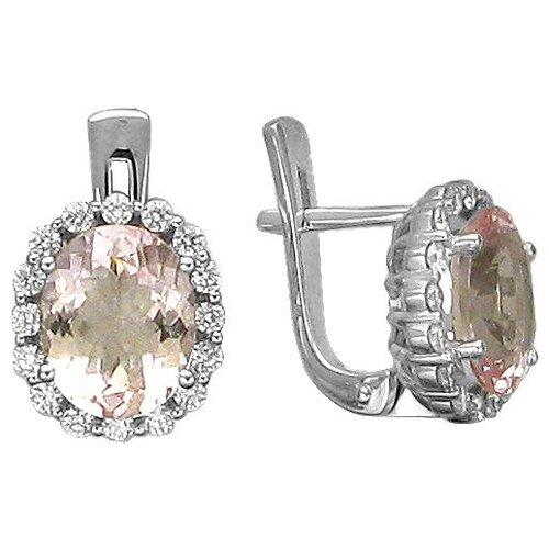 Эстет Серьги с морганитами и бриллиантами из белого золота 01С627161-2