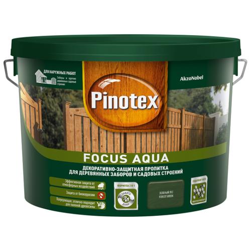 Биоцидная пропитка Pinotex Focus Aqua зеленый лес 9 л