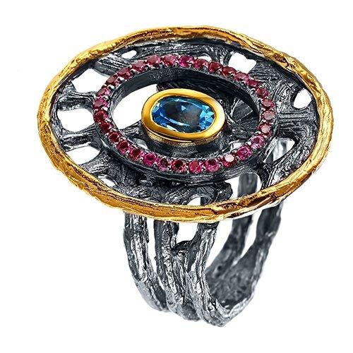 ELEMENT47 Широкое ювелирное кольцо из серебра 925 пробы с топазами и турмалинами YR00217_KO_BT_TU_BLK, размер 17