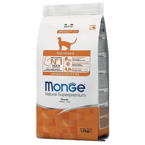 Сухой корм для стерилизованных кошек Monge Natural Superpremium Monoprotein, с уткой 1.5 кг