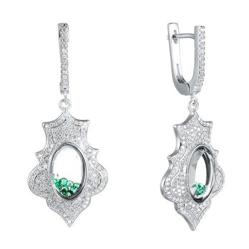 JV Серебряные серьги с фианитом, ювелирным стеклом A8009-SR-CRYST-003-WG