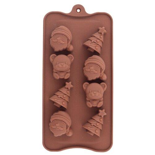 Форма для конфет Мультидом Новый год, 8 ячеек коричневый по цене 287